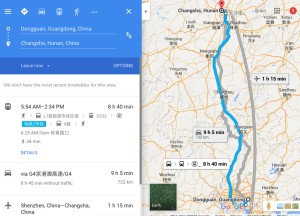 Changsha City to Dongguan